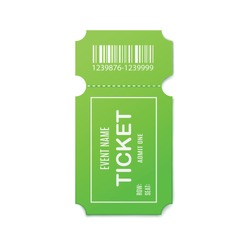 Mockup of empty green paper admit ticket for entertainment event, 3d realistic vector illustration isolated on white background. Entrance pass coupon template.