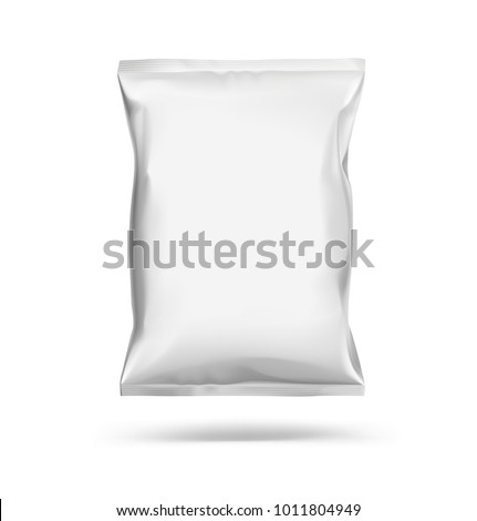 Mockup of food chips pillow package isolated on white background. Vector illustration ready and simple to use for your design. The mock-up will make the presentation look as realistic as possible. - Shutterstock ID 1011804949