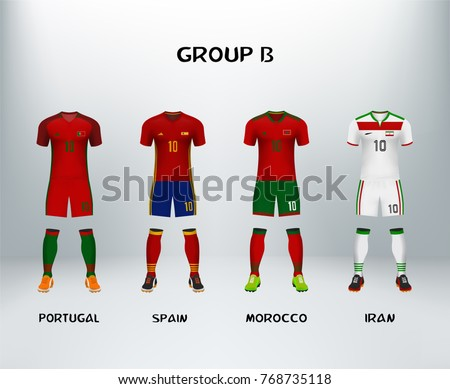mockup of group B football jersey. Concept for soccer uniform of team that qualified to final round of football tournament in Russia. Vector illustrative