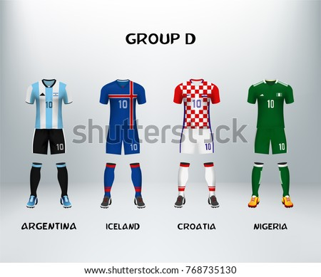 mockup of group D football jersey. Concept for soccer uniform of team that qualified to final round of football tournament in Russia. Vector illustrative