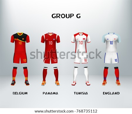 mockup of group G football jersey. Concept for soccer uniform of team that qualified to final round of football tournament in Russia. Vector illustrative