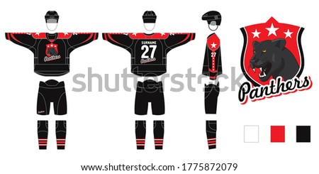 mockup of hockey form isolated on white background - vector illustration mockup. Hockey uniform with Panthers logo - pattern cutting for sewing - Hockey sweater and hockey leg warmers, gaiters