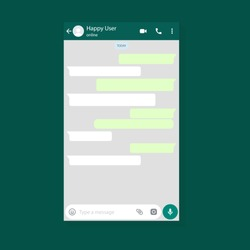 Mockup of mobile messenger, inspired by WhatsApp and other similar apps. Modern design. Vector illustration. EPS10.