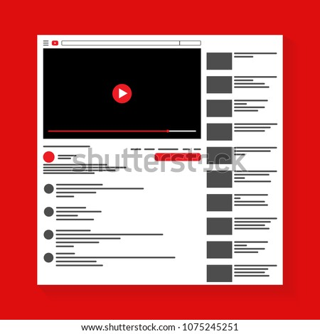 Mockup of online video platform site, inspired by YouTube and other social resources. Modern design. Vector illustration. EPS10.