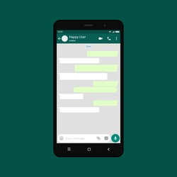 Mockup of phone with mobile messenger on screen, inspired by WhatsApp and other similar apps. Modern design. Vector illustration. EPS10.