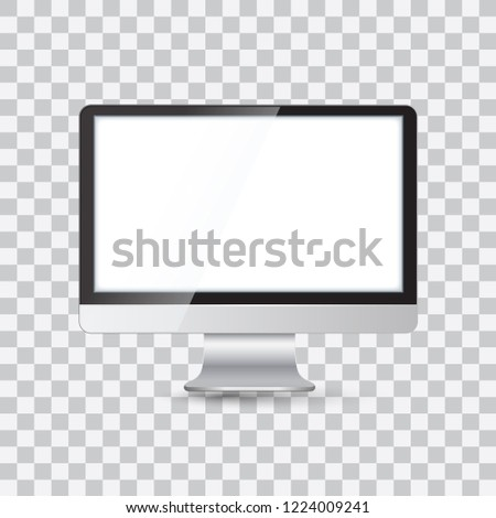 Mockup of realistic monitor. Realistic monitor and white screen laptop for easy editing