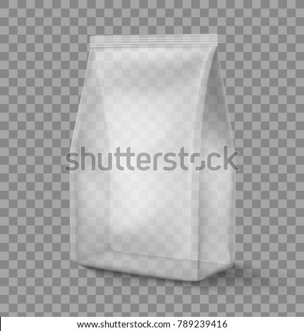 Mockup of stand up plastic snack bag. Vector illustration on transparent background, ready and simple to use for your design. The mock-up will make the presentation look as realistic as possible.