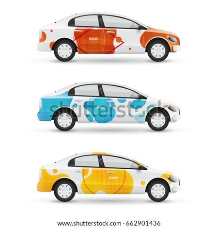 mockup of white passenger car