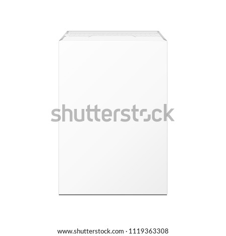 Mockup Product Cardboard Package Box. Nutrition, Baby Food, Porridge, Cereal, Groats, Bulk Products. Illustration Isolated On White Background. Mock Up Template Ready For Your Design. Vector EPS10