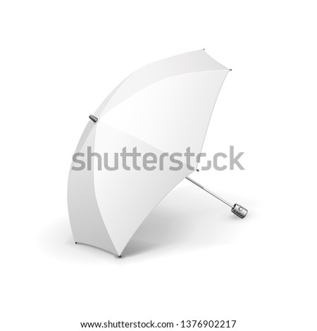 Mockup Promotional Advertising White Umbrella Parasol. Mock Up, Template. Illustration Isolated On White Background. Ready For Your Design. Product Advertising. Vector EPS10
