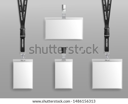 Mockup set of blank badge holders with clips and black lanyard realistic style, vector illustration isolated on gray background. Template designs of empty identification cards
