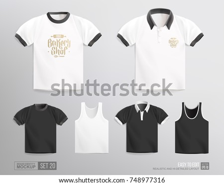 Mockup set of blank t-shirt, uniform. Realistic Mockup for clothing corporate brand identity design. White and Black men's t-shirt realistic Polo tee shirt template and Bakery logo presentation