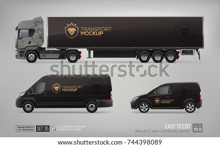 Mockup set of Corporate Brand Identity on Truck Trailer, Cargo Van, Delivery Car . Business Mockup with lion crown icon logo on black background. Llion crown icon logo on Car Branding design