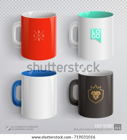 Mockup set of corporate ceramic mug. Red, white, black mug mockup template for branding identity and company logo design