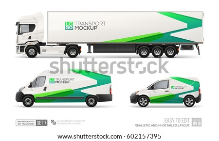 Mockup set of hi-detailed Truck Trailer, Delivery Van, Freight Car - vector template. Green abstract graphic elements on Car layout for Branding and Corporate identity.  Branding mockup