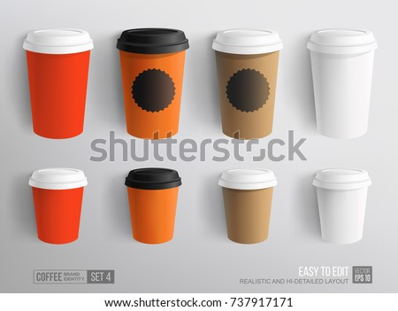 Mockup Set Of Paper And Plastic Coffee Cup