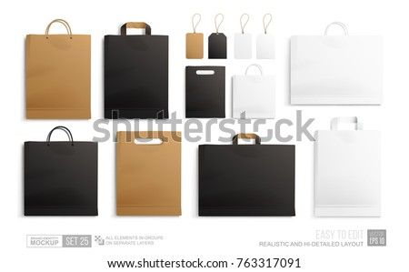 Mockup set of Realistic Shopping Bag for branding and corporate identity design. Square and horisontal black Shopping bag blank Mockup. Paper package and price tags template isolated on white