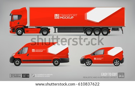 Mockup Set of Red Truck Trailer, Cargo Van, Delivery Car - vector template. Abstract graphic elements for transport Brand identity and Advertising. Set of delivery Transport. Vehicle branding Mock Up