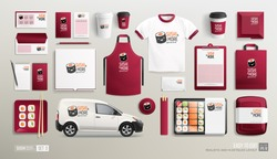 Mockup set of Sushi Bar Restaurant Corporate Brand identity with Sushi logo. White and maroon colors stationery MockUp set of Sushi delivery van, lunch box, uniform, package. Japanese food identity