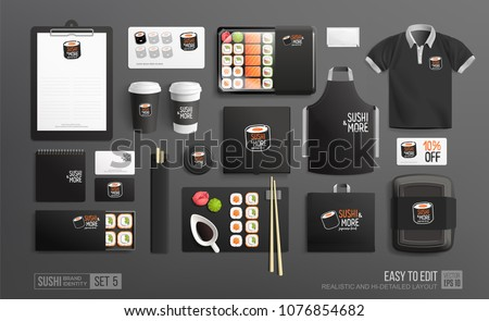 Mockup set of Sushi Shop Corporate Brand identity with Sushi logo. Black color MockUp set of Sushi lunch box, uniform, package