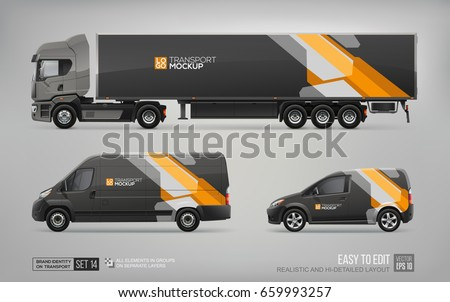mockup set of truck trailer