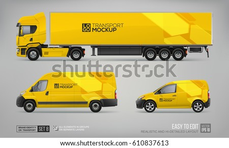 mockup set of yellow truck