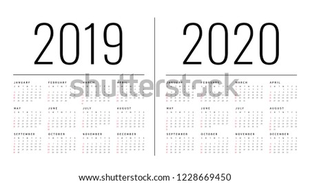 Mockup Simple calendar Layout for 2019 and 2020 years. Week starts from Sunday.