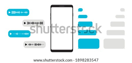 Mockup smartphone with template blank messenger chat and voice message. Empty screen of mobile phone. Telegram messenger