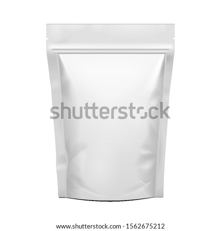Mockup Stand Up Blank Bag For Coffee, Candy, Nuts, Spices, Self-Seal Zip Lock Foil Or Paper Food Pouch Snack Sachet Resealable Packaging. Illustration Isolated On White Background. Mock Up, Template.