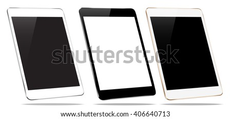 mockup tablet collection set isolated on white vector design