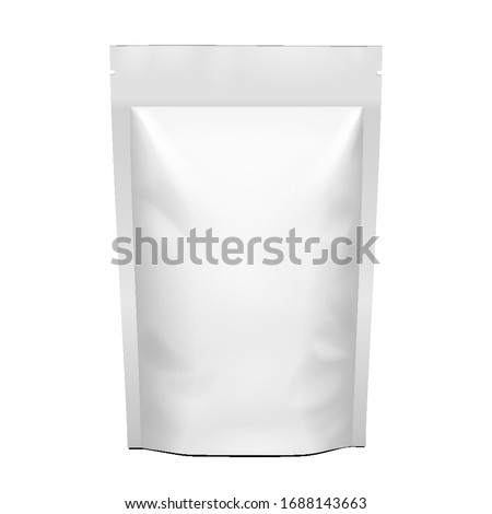 Mockup Template Blank Package Bag For Coffee, Nuts, Spices Or Stand Up Paper Food Pouch Snack Sachet. Illustration Isolated On White Background. Mock Up.
