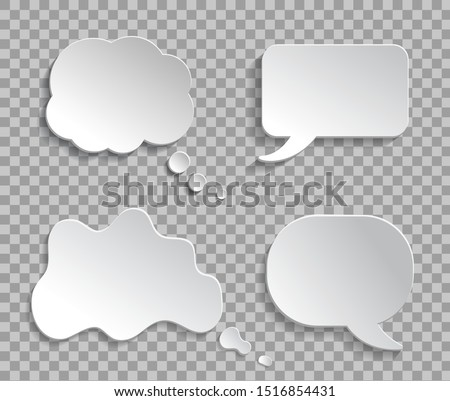 Mockup think ballon, talk bubble on transparent background. 3d thought cloud message for text, infographic. Chat speech bubble of conversation. White abstract ballon of think for text. vector eps10