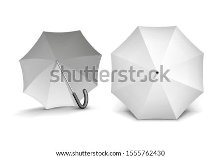 Mockup Two Promotional Advertising White Umbrella Parasol. Mock Up, Template. Illustration Isolated On White Background. Ready For Your Design. Product Advertising. Vector EPS10