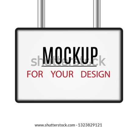 Mockup. White poster with black frame. Blank template blank layout. Vector illustration