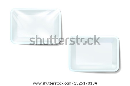 Mockup white realistic plastic food container wrapped by polyethylene and without the wrapper. Vector Rectangle Blank Styrofoam tray, Template for your design. For example, packaged air. Illustration.