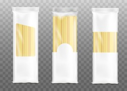 Mockups set of three pasta bags with white blank parts for brand identity and logo placement, realistic vector illustration isolated on transparent background.