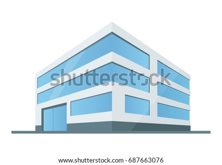 Mod building with automatic glass door, modern shop with big glass window prospect vector illustration isolated on white background