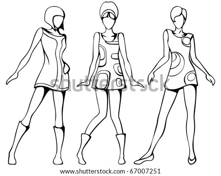 Mod girls sketch (EPS10); jpg version also available
