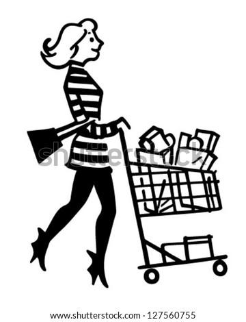 Mod Shopper - Retro Clipart Illustration - stock vector