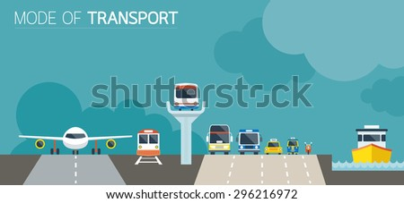 Mode of Transport Illustration Icons Objects Front View
