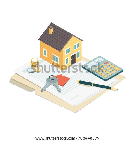Model house, house keys and contract: real estate, loans and investments concept