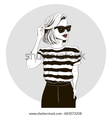 model in striped tshirt