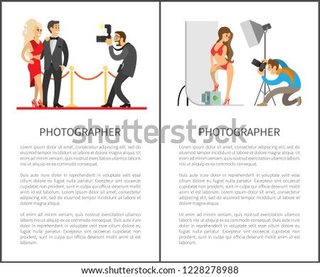 Model in swimsuit at backdrop, celebrities couple on red carpet vector illustrations. Studio photographer and paparazzi with cameras posters with text