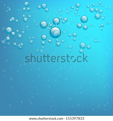 Model of the water molecule, vector background.