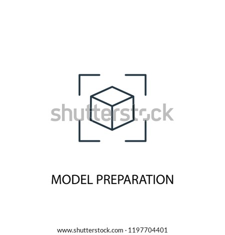 model preparation concept line icon. Simple element illustration. model preparation concept outline symbol design. Can be used for web and mobile UI/UX