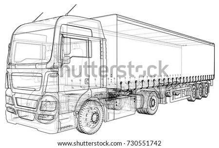 Model trailer truck. Wire-frame. EPS10 format. Vector rendering of 3d.