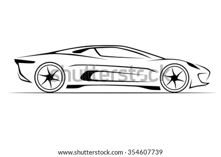 Abstract Monochrome Illustration Of A Car Ez Canvas