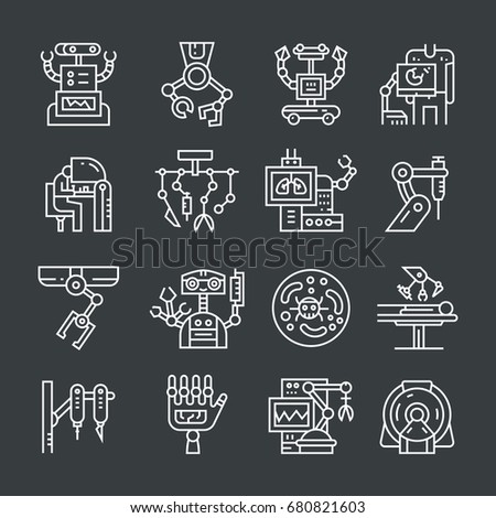 Moder line style set with robotic urgery and modern medicine icons. - Shutterstock ID 680821603