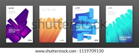 Modern abstarct geometric colourful brochure covers set. Futuristic gradient 3d-shapes concept. #1119709130