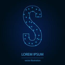 Modern abstract alphabet on background blue. Wire frame 3D mesh polygonal network line. Vector design element for your art. Letter S. Vector illustration eps10.